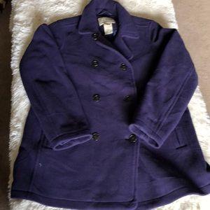 LL Bean fleece pea coat size large EUC